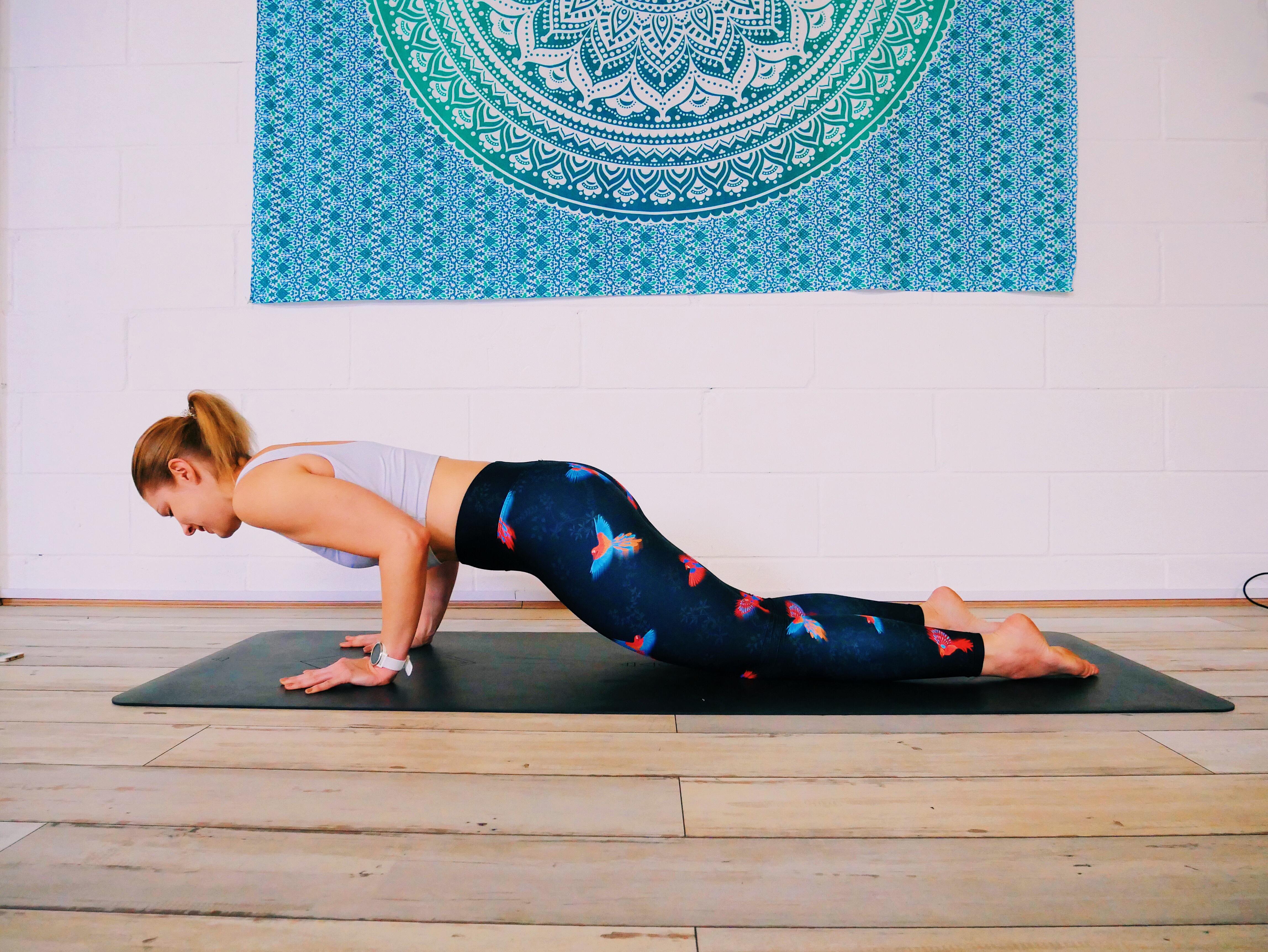How to modify chaturanga yoga pose knees down