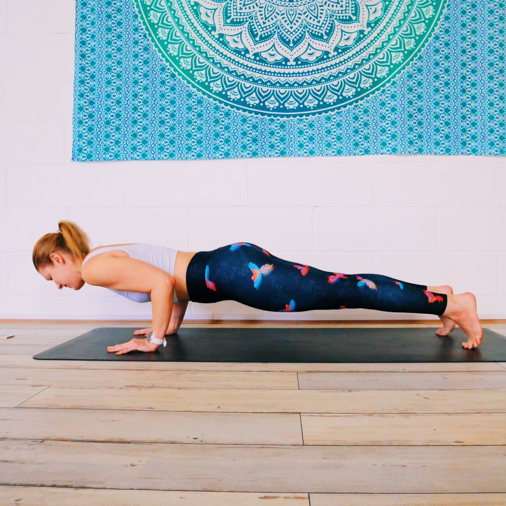 Chaturanga how to good form body in one long line strong arms right angles