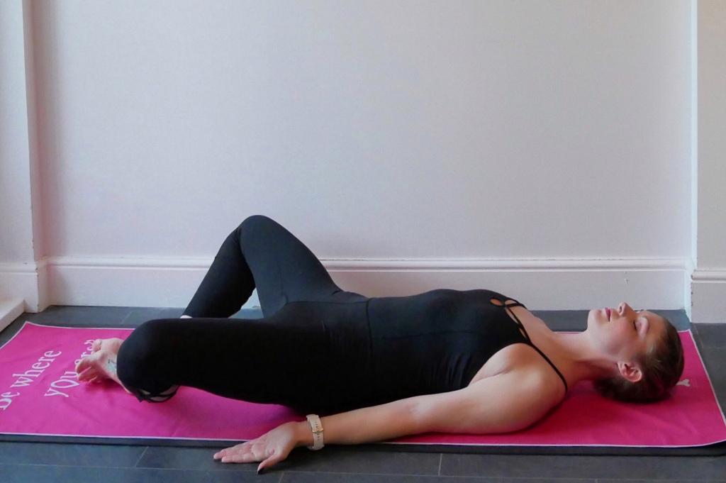 supta baddha konasana, reclined bound angle pose, relaxing yoga, yoga to restore, yoga to relax, yoga girl
